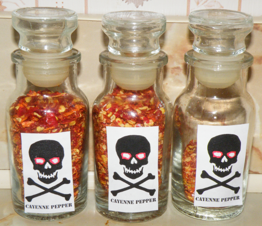 Hot Pepper Seasoning with Warning Label.