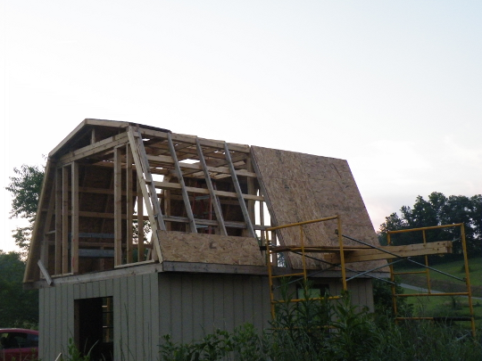 Covering the Roof with Recycled Plywood