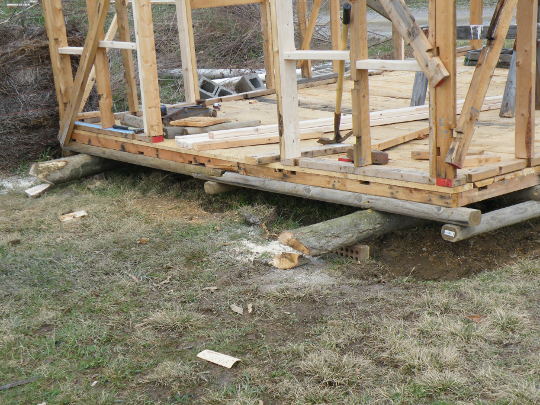 Stopped Construction, Moving the Shed to Avoid a Power Line